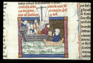 colourful image from old text of people in a boat passing something to a man in a smaller boat